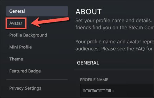 """Trong menu cài đặt hồ sơ Steam của bạn, hãy nhấn vào """"hình đại diện"""" Lựa chọn."""