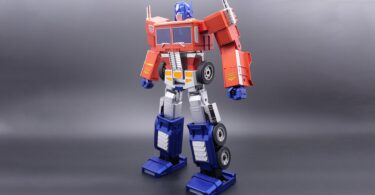 An Optimus Prime toy in humanoid form.