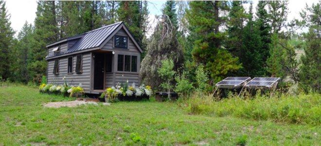 ngôi nhà nhỏ không có lưới điện bao quanh bởi cây cối