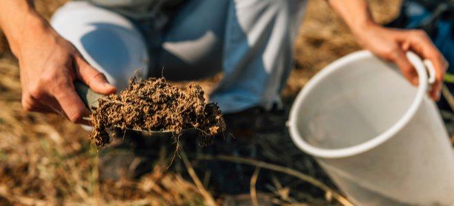 đào đất để lấy mẫu đất