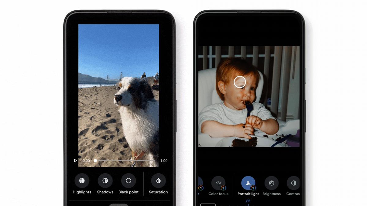 Hai ví dụ về trình chỉnh sửa video Google Photos mới.