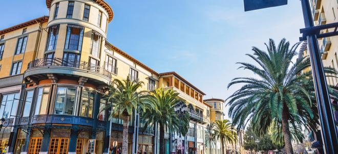 đường phố với những cây cọ và tòa nhà ở San Jose, California