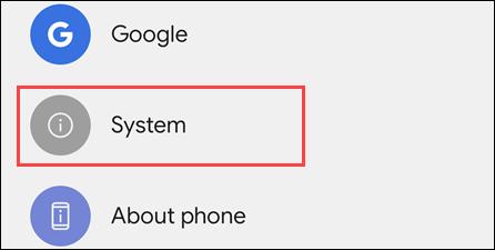 """Đi đến """"Hệ thống"""" phần"""