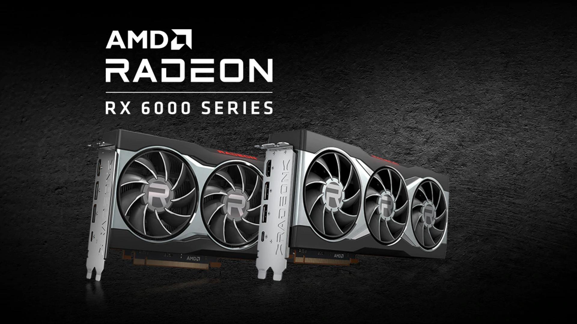 GPU dòng AMD Radeon RX 6000 trên nền xám
