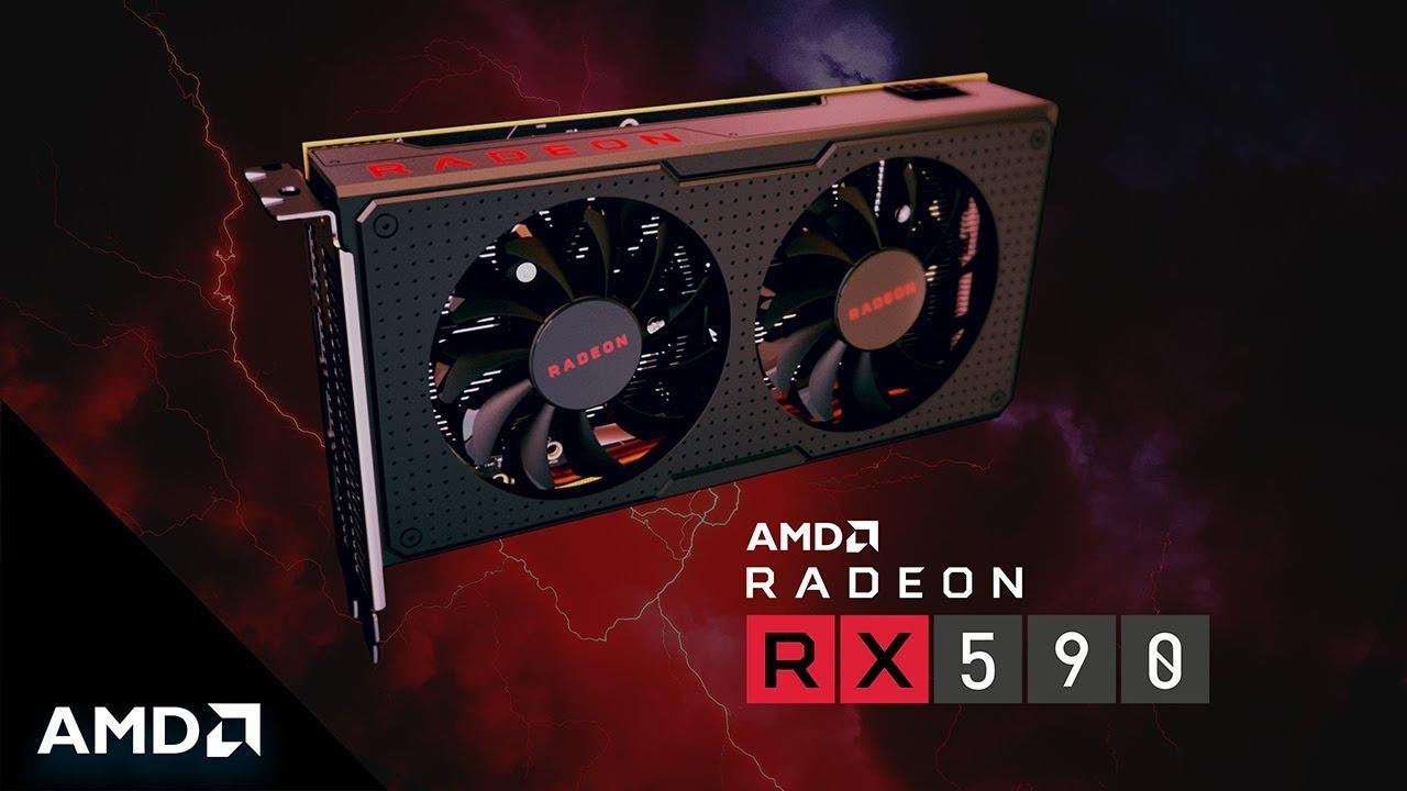 AMD Radeon RX 500 series GPU RX 590 trên nền đen / đỏ