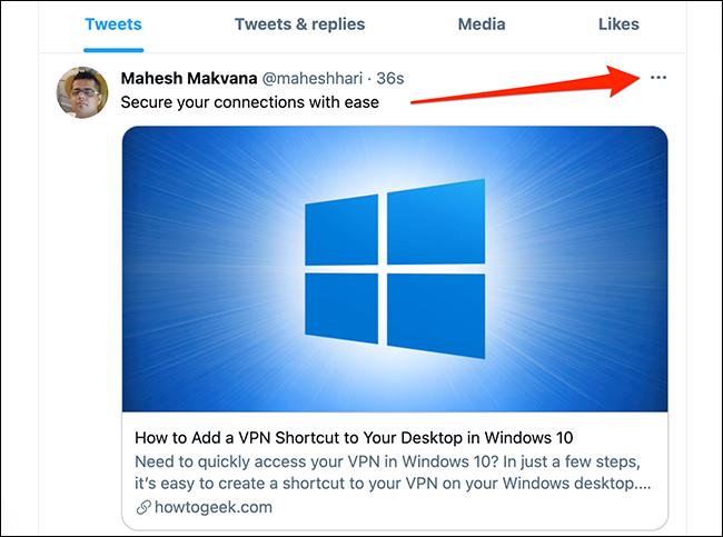 Nhấp vào menu ba chấm ở góc trên bên phải của tweet trên Twitter.