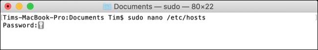 Chỉnh sửa lệnh tệp máy chủ macOS