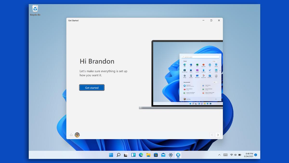 Màn hình chào mừng của Windows 11.