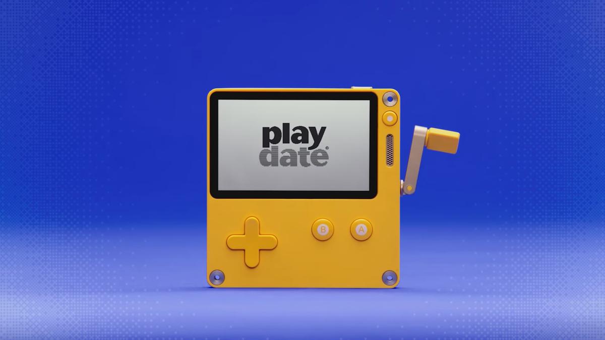 Bảng điều khiển Playdate trên nền màu xanh vui nhộn