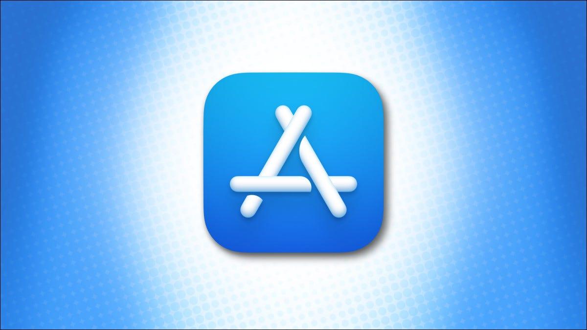 Logo Apple Mac App Store trên nền màu xanh lam