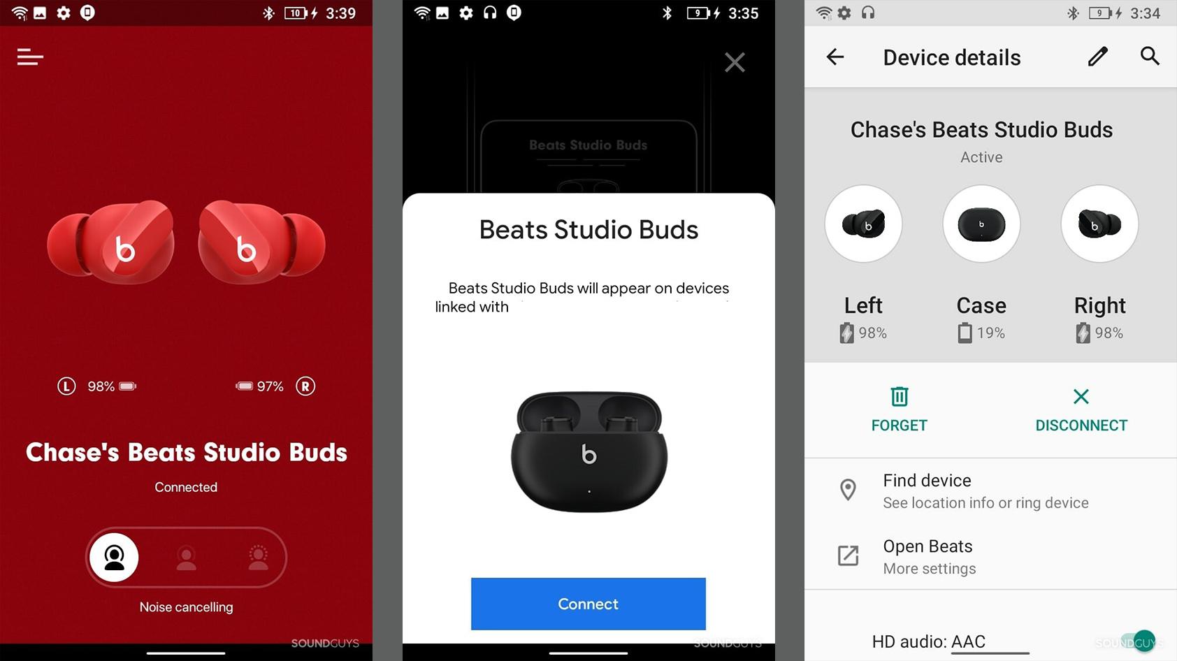 Ba ảnh chụp màn hình của ứng dụng Beats Android.